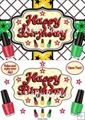 Happy Birthday Nail Polish Quick Card A5 In Red Gold And Green