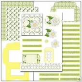 White Dogwood Square Topper Decoupage Card Kit