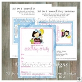 Girly Girl Birthday Party Invitation 2 - Front and Back Included