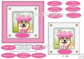 Spectacle Dogs In Pink Hats (5) - 6 x 6 Card Topper & Greetings