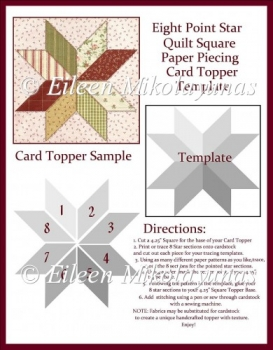 Eight Point Star Paper Piecing Topper Template