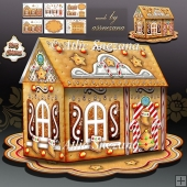3D Paper Gingerbread House for Desk Table