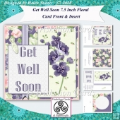 Get Well Soon Layered Floral 7.5 Inch Card Front & Insert