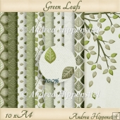 10 x A4 green leafs cardstock
