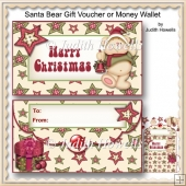 Santa Bear Gift Voucher Or Money Wallet