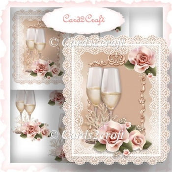 Champagne and roses card topper