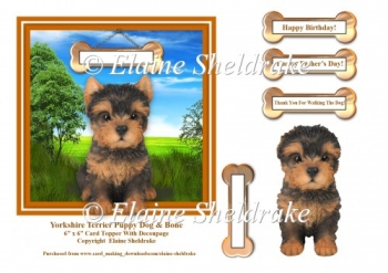 Yorkshire Terrier & Bone 6 x 6 Card Topper With Decoupage