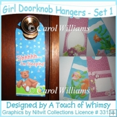 Girl Doorknob Hangers - Set 1