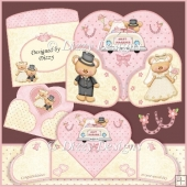 Wedding Bears wrap around gatefold card kit