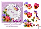 Pansy Flowers & Butterflies 6 x 6 Card Topper With Decoupage