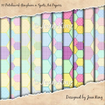 10 Patchwork Gingham n Spots A4 Papers