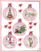 Victorian Pink Christmas Ball Ornament Card Embellishments