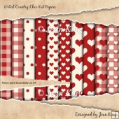 10 Red Country Chic 8x8 Papers