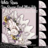 White Roses Fan Square Card Mini Kit