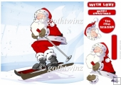 Skiing Santa 8x8 Quick Card With Matching Insert