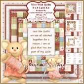 Mice With Quilts - Decoupage Card Kit