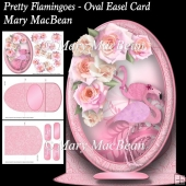 Pretty Flamingoes - Oval Easel Card