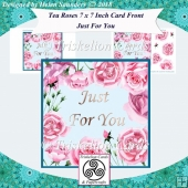 Tea Roses 7 x 7 Inch Card Front with Decoupage - Just For You