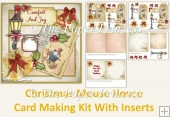 Christmas Mouse Card Kit with decoupage, inserts, main card.