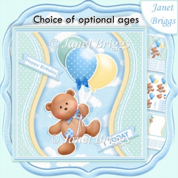 BEAR & BALLOONS With Ages Blue All Occasion Decoupage Kit