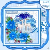 DEER & BLUE POINSETTIA 7.5 Christmas Decoupage & Insert Kit