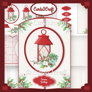 Christmas lantern gatefold card set