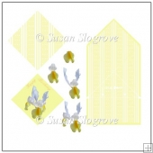 Iris Decoupage Spring Fold Card Yellow