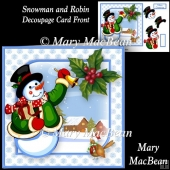 Snowman and Robin - Decoupage Card Front