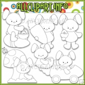 Funny Bunny Commercial Use Digital Stamps