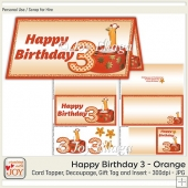 DL size Orange 3rd Birthday Angel