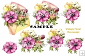 Flower envelope Decoupage and Clipart Commercial Use
