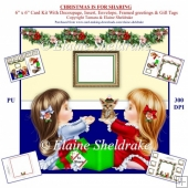 "Christmas Is For Sharing 6"" x 6"" Decoupage Square Card Kit"
