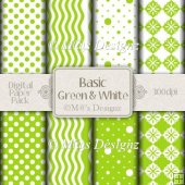 Basic Green and White Paper Pack