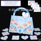 Roses Blue Designer Handbag Card Kit With Insert & Verse