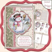 A5 Christmas SNOWMAN Decoupage Portrait Card Kit
