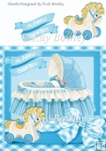 baby boy in blue crib with rocking horse & gingham bow 8x8