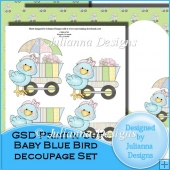 GSD Print n Cut Baby Blue Bird Decoupage Set