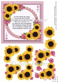 Sunflower Cluster Pink A4 sheet with birthday verse