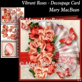 Vibrant Roses - Decoupage Card