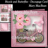 Bicycle and Butterflies - Decoupage Card