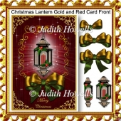 Christmas Lantern Gold and Red Card Front