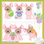 Easter Bear Bunny Pink 2 Clip Art