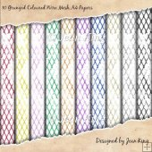 10 Grunged Coloured Wire Mesh A4 Papers