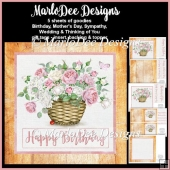 Beautiful Pink & White English Rose Basket Mini Card Kit 1