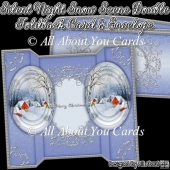 Silent Night Snow Scene Double Foldback Card & Envelope