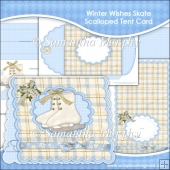 Winter Wishes Skate Scalloped Tent Card