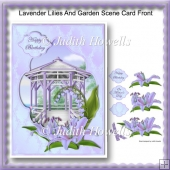 Lavender Lilies And Garden Scene Card Front