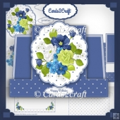 Blue and green roses stepper card set