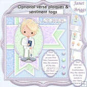 1ST HOLY COMMUNION or CONFIRMATION Blonde Boy & Verse Decoupage