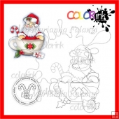Santa in Cocoa Cup and A Sentiment Digital Stamp